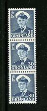 Greenland #33 (Gr214) Strip of 3, Frederik Ix 30 dark blue, Mnh, Fvf, Cv$120.00