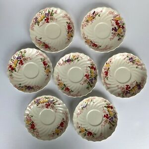 Set of 7 Vintage Copeland Spode Saucers - Fairy Dell Pattern China