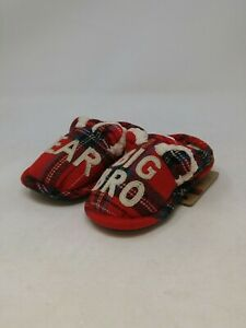 Dearfoams Girls Red Plaid Bear Slippers Size 7-8 US Toddler