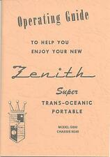 G500 1950 Zenith Trans-oceanic Owner's Manual and Zenith Schematic-Free Shipping