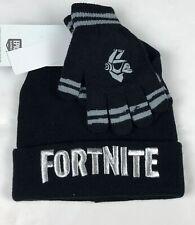 Boys Fortnite Llama Hat Beanie & Glove Set Black One Size NWT