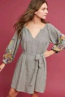 Anthropologie Feather Bone Lindsey Embroidered Tunic Dress M EUC Belted Striped