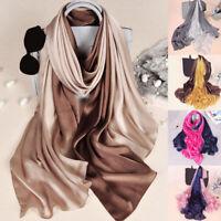 Women Luxury Fashion Long Head Wraps Hijab Scarf Gradient Sunscreen Silk Shawl