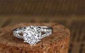 2 CT DIAMOND Engagement Wedding Anniversary Bridal Ring .925 Silver  Size 8