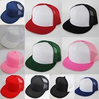 PLAIN FLAT PEAK TRUCKER COTTON HAT CAP BLACK NAVY RED +