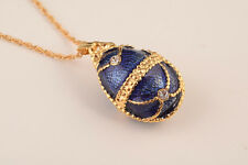 Faberge Easter Egg Necklace wite crystals by Keren Kopal gold plated pendant