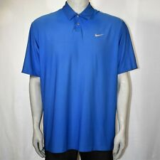 Nike Tiger Woods Golf Dri-Fit Polo Shirt Metal Snap Size XL Blue Vented Neck