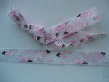 "SHOE-LACES~1 Pair of 25mm x 1.15mtr (45"") Sheer Lilac/Grey tone w pink Flowers"