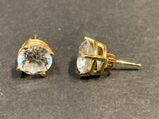 Diamonique 14K Gold and CZ Stud Earrings - 7 mm across - 2.9 grams
