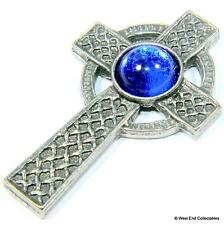 Celtic Cross Pin Brooch Badge - Blue Scottish / Irish Gaelic Cross UK Handmade