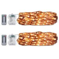 2pk 60 LED 20' Copper Wire String Lights Battery Powered Party Xmas Wedding Warm