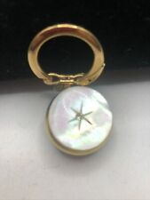 Vintage Gold Tone Mother of pearl Keychain Clip w/ Retractable Key Ring on Chain