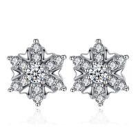 Crystal Snowflake Stud Earrings 925 Sterling Silver Womens Girls Jewellery Gift