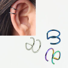 5PCS 16G Non piercing Fake Lip Nose Ring Clip on Cartilage Septum Earring Hoop