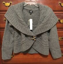 Apt. 9 Grey Wool Blend Cropped Cardigan Sweater Small