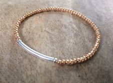 Dainty Rose Gold And Silver Bar Seed Bead Surfer Bracelet Stretchy Stacking