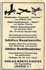 Moritz Schäfer Leipzig FLUGMODELLE BAUPLANREIHE Historische Reklame von 1941