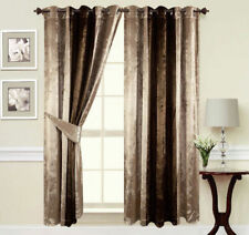 Curtains Ring Top Eyelet Ready Made Lined Crushed Velvet Champagne Gold/Brown
