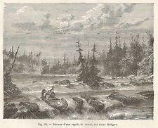 A2093 Canoa in una rapida nel fiume Maligno - Xilografia del 1895 - Engraving
