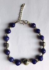 Stunning Blue Jade 925 Silver Bracelet