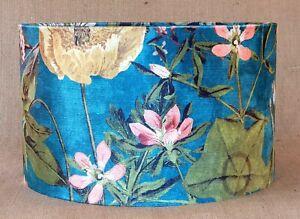 Clarke PASSIFLORA kingfisher blue green pink velvet floral fabric drum lampshade