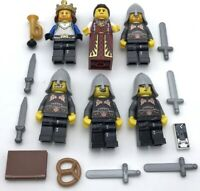 Lego 6 New Castle Kingdoms Knights Minifigures King Queen Figures Weapons More