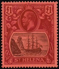 St. Helena 1922-37 £1 grey & purple / red, MH (SG#96)