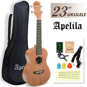 23'' Mahogany Ukulele Soprano Acoustic Hawaii Guitar Concert Music Instrument
