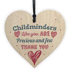 Handmade Childminder Gift Thank You Teacher Nursery Wooden Heart Plaque Sign