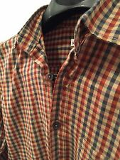Steven Alan Small S Button Down Men's Shirt. Used checkered plaid reverse stitch