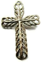 Filigree Cross Pendant for Chain Necklace Vintage Sterling Silver 925
