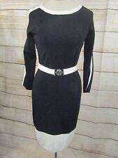 Ralph Lauren Black & White Stretch Sheath Dress Belt Womens Sz M 3/4 Sleeves