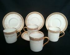 4x AYNSLEY piccole lattine di caffè e piattini Set circa 1905-1925 BONE CHINA A223