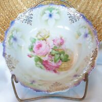 Vintage Germany White & Periwinkle Blue Lusterware Bowl Purple Roses in a Basket