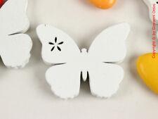 12 Pezzi Decorazioni Decori Bomboniere Farfalle Bianche Legno 43mm con Sticker