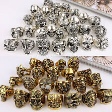 Wholesale 6pcs Lots Mixed Skull Gold/Silver Men's Rings Jewelry Biker Punk Rings
