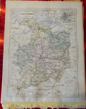 Old Map 1900 France Département l'ille et vilaine Rennes Vitre St Malo St Aubin