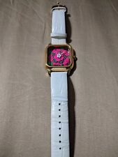 Betsey Johnson women's leather white watch