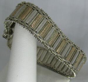 "Milor 925 25.6g Sterling Silver & Gold flex Hinged link Riccio Bracelet 7.25"""