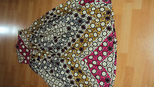 ANKARA African Print Brown Multi Gathered Long / Full Length Skirt UK 12