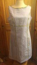 Doncaster Blue sleeveless Cotton Dress 12 sheath Lined floral trim pockets NEW