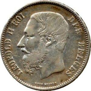 elf Belgium 5 Francs 1870  Leopold II   Silver