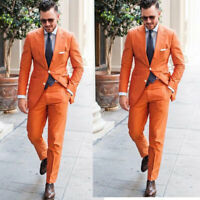 Orange Formal Party Suits 2 Pieces Slim Fit Groom Wedding Tuxedos Size 36-60R