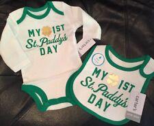 "NWT~ Carter's Newborn Baby ""St. Patty's Day"" Bodysuit & Bib - Irish St Patrick's"