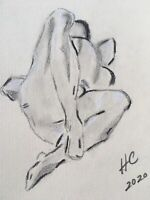 FEMALE NUDE DRAWING, 9X12 in. US, Signed. Charcoal/Graphite. Impressionism.