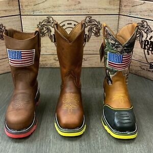 MEN'S STEEL TOE WORK BOOTS AMERICAN FLAG STYLE SOFT LEATHER INSIDE SHAFT SAFETY