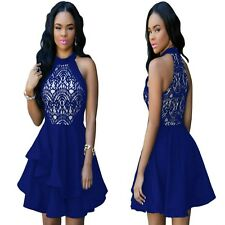 Sz 12 14 Blue Skater Lace Sleeveless Formal Gown Cocktail Party Sexy Chic Dress