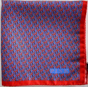 $75 New THOMAS PINK GIRAFFE Print 100% SILK Pocket Square Handkerchief