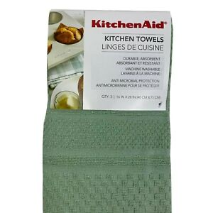 KitchenAid Kitchen Towels 3 Pack Green Textured Towels 16x28 100% Cotton