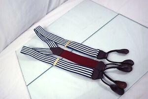 Paul Stuart USA Blue White Pinstripe Mens Leather Adjustable Suspenders